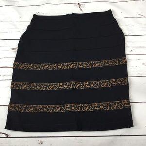 Black Stretch Skirt w/ Cheetah Print. Size 3/4